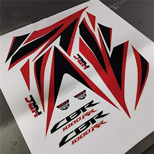 FIT CBR1000RR CBR1000 2012-2013-2011-2015-2016 12 Kit completo Etiqueta engomada de la Etiqueta engomada para Honda Protector de calcomanías de alta calidad Accesorio Pegatinas (Color : Rojo)