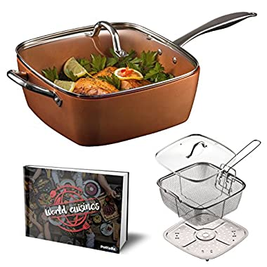 "Pottella Deep Square 9.5"" Nonstick Copper Pan Chef 5 Piece Set Frying Basket, Steamer Tray with Bonus World Cuisine Cookbook"