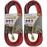 Viasonic Outdoor Extension Cord UL Listed - 20FT - Heavy Duty & Durable, 16 Gauge, Two Tone Red/Black Cord, Premium Lighted Plug, by Unity (2, 20 Ft)