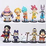 10 Unids / Set Dragon Ball Dioses Y Dioses 4A Generación Mono Rey Gohan Vegeta Destructor Bilus Buu ...