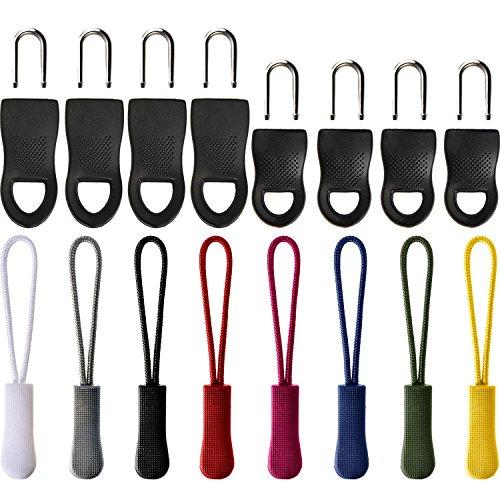 48 Stück sortierte Farben Reißverschluss Pulls Zip Fixer Tags Reißverschluss Reparatur Tabs Ersatz für Kleidung, Taschen und Kunsthandwerk, 2 Stile (8 Farben)