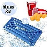 XXL Beer Pong Bier Pong Set|aufblasbare hochwertige Bierpong Luftmatratze inkl. 24x rote Partybecher...