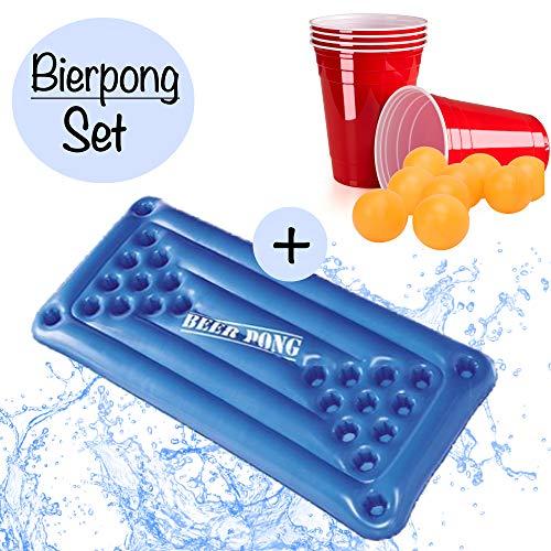 XXL Beer Pong Bier Pong Set|aufblasbare hochwertige Bierpong Luftmatratze inkl. 24x rote Partybecher u. 5x Bälle |aufblasbarer schwimmender Beerpong Tisch|Pool Pong Matraze Red Cups Party Trinkspiel