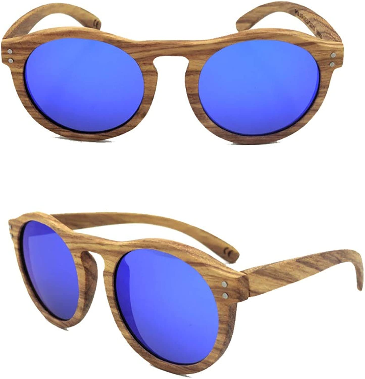 Fashion Women's Fashion Round Wooden Sunglasses, Polarized Lens Sunglasses Retro (color   blueee)