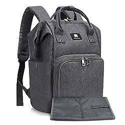 Baby Wickelrucksack Wickeltasche Rucksack mit Wickelunterlage, Meinkind Große Kapazität, Baby Reisetasche und Multifunktionale Babytasche für Kinderwagen und Unterwegs, Grau