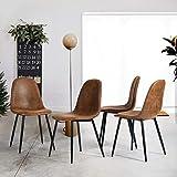 FURNISH1 Juego de 4 sillas de Comedor Vintage de Cuero marrón Antiguo Silla de Oficina Silla de Asiento de cojín rústico PU con Patas de Metal Negro