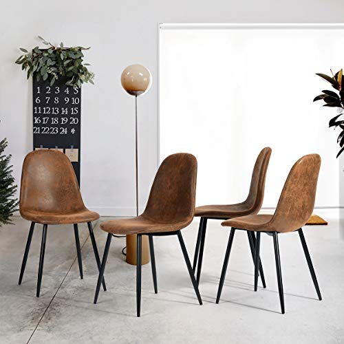 FURNISH1 Ensemble de 4 chaises de Salle à Manger en Cuir Antique Marron Vintage Chaise de Bureau PU Coussin de Chaise Rustique avec Pieds en métal Noir