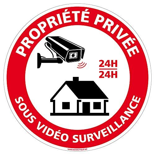 Panneau Propriete Privee Sous Vidéo Surveillance - Diamètre 140 mm - Plastique PVC de 1 mm