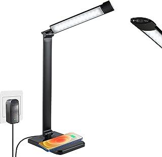 Lampe de Bureau LED avec Chargeur Sans Fil, Larkotech Lampe avec Détecteur, Lampe de 7 Niveaux 3 Modes de Luminosité Ajust...