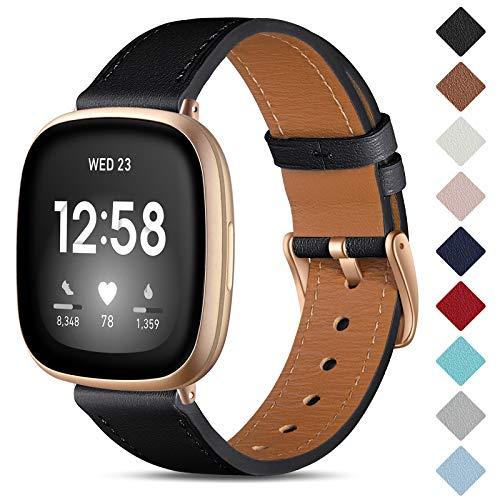 CeMiKa Leder Armband Kompatibel mit Fitbit Sense/Fitbit Versa 3 Armband, Original Lederband Ersatzband mit Edelstahl-Verschluss Kompatibel mit Fitbit Versa 3 Armband, Schwarz/Roségold