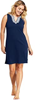 Lands' End Women's Plus Size Cotton Jersey Embellished Sleeveless Swim Cover-up Dress