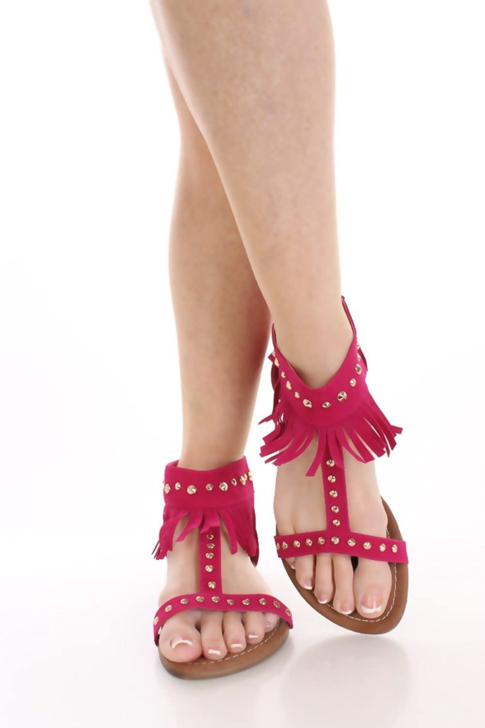 New Womens Studded Fringe Dress Sandals in Black, Camel, Brown, Fuchsia, bluee