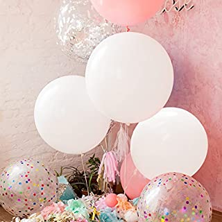 GuassLee 5 Giant Balloons 36 Inch Round Latex Big Balloon Large Thick Balloons for Photo Shoot/Birthday/Wedding Party/Festival/Event/Carnival Decorations White