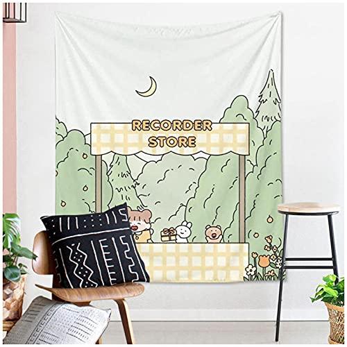 DXYM Tapiz de estilo de dibujos animados decoración de dormitorio Animal lindo patrón de niña tapiz para colgar en la pared fondo de tela de mesa 51 * 59 pulgadas