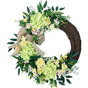 MUMING 16inch Hydrangea Wreath Artificial Flower Front Door Simulation Gardenia Garland Outdoor Spring Wreath Farmhouse Wreath