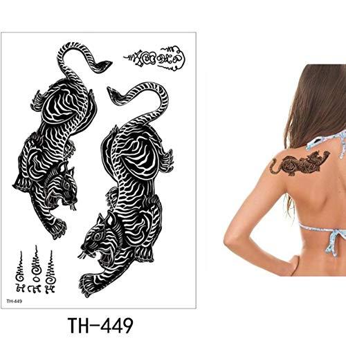 yyyDL Tattoo Aufkleber DIY Temporäre Tätowierung Aufkleber Mode Gefälschte Tätowierung Löwe Flash Tatto Wasserdichte Kleine Körperkunst Männer Frauen Link15 * 21 cm 4 stücke