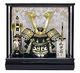 京寿 五月人形 兜飾り ケース入り 木製弓太刀付 間口43×奥行30×高さ41cm 10号中鍬角兜……