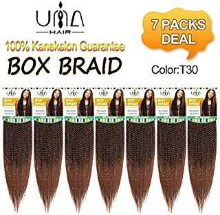 UNA Box Braids Crochet Hair Extensions Synthetic Hair Crochet Braids Kanekalon Jumpo Braiding Hair (18inch,7pcs, T30) …