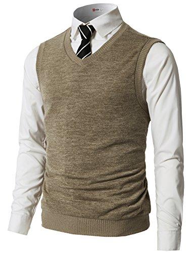 H2H Mens Slim Fit Casual V-Neck Knit Vest Beige US L/Asia XL (CMOV042)
