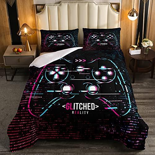 Juego de edredón Gamepad para niños, videojuegos, juego de cama de 2 piezas para niños, adolescentes, moderno y fresco, juego de edredón de poliéster suave con 1 funda de almohada, tamaño individual
