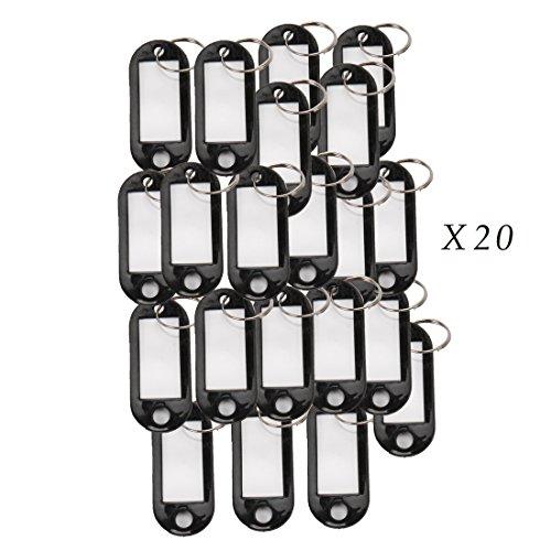 Comidox 20 Pcs Key ID Label Tags Split Ring Keyring Keychain Black