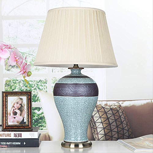 Nueva lámpara de mesa de estilo chino Lámpara de estudio de sala de estar Jingdezhen Lámpara de mesa de porcelana de cerámica china clásica talla antigua High66CM Luz cálida