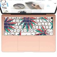 igsticker MacBook Air 13inch 2018 専用 キーボード用スキンシール キートップ ステッカー A1932 Apple マックブック エア ノートパソコン アクセサリー 保護 010907 カラフル 植物 模様