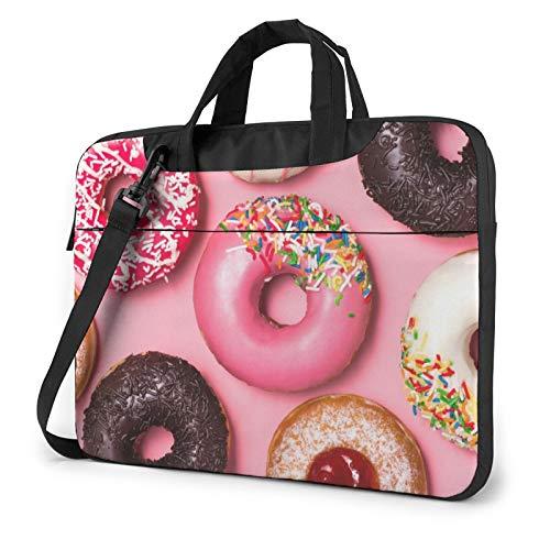 Laptop Case, Pink Donut Print Laptop Shoulder Bags Multi-Functional Notebook Sleeve,13-14-15.6 Inch