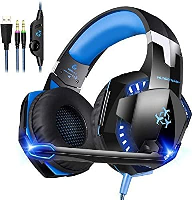 Gaming Headset, Cocoda Comfortable Headset for PC / Computer, Stereo Headsets with Microphone, LED Light, 50mm Drivers, Volume Control, Noise Isolation & Adjustable Headband(Not Work for PS4/Xbox One)