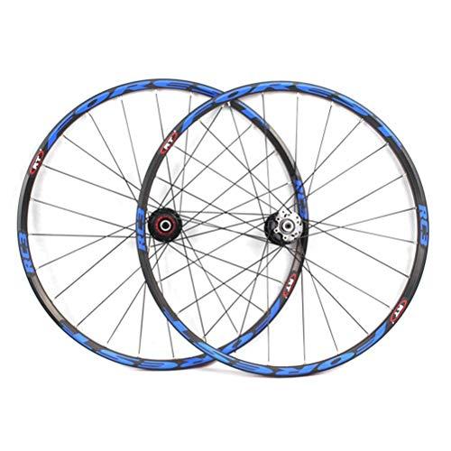 Juego de Ruedas de Bicicleta de montaña de 26'/ 27,5' Pulgadas Bicicleta súper Ligera Llantas de Doble Pared Freno de Disco QR 8/9/10/11 Speed Palin Sealed Bearing Hub (Color: Azul, Tamañ