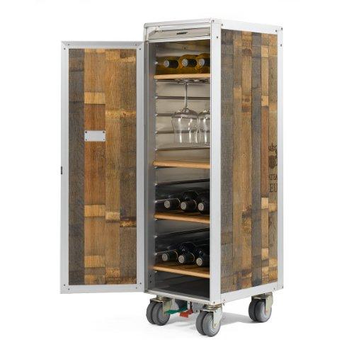 Skypak Barrique Holz Flugzeugtrolley, Weinbar aus Fassholz