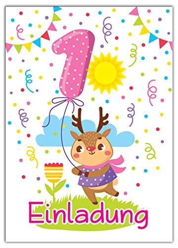 JuNa-Experten 12 Einladungskarten 1. Kindergeburtstag Mädchen Tiere erste Geburtstag Geburtstagseinladungen Einladungen Geburtstags-Party Kartenset REH