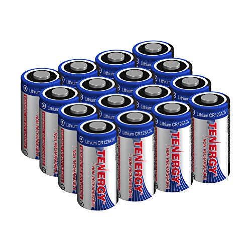 Tenergy 3V CR123A Lithium Battery, High Performance 1500mAh CR123A Cell Batteries PTC Protected for Cameras, Flashlight Replacement CR123A Batteries, 16-Pack (Non-Rechargeable)