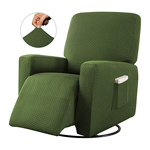 Sapphire Home Recliner Chair SlipCover Shield, Form-fit Stretch, Wrinkle Free, Furniture Protector, Remote Pocket, Polyester Spandex Fabric, Solid Non-Slip, Diamond Pattern, Rec Green/Sage