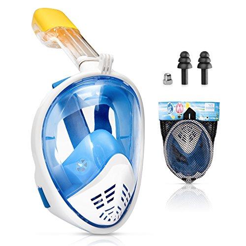 Kupton Máscara de Snorkel Facial Completa, Máscara de Buceo de Vista Panorámica de 180 Grados para Niños y Adultos, Tecnología Antifugas Respiración Libre y Diseño Antivaho, con Soporte para GoPro