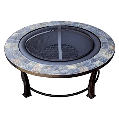 Hiland AZ Patio Heaters Fire Pit with Round Table, Wood Burning