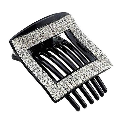 Milageto Joyas con soporte para cola de caballo con pinza de clip para el pelo cuadrado de cristal