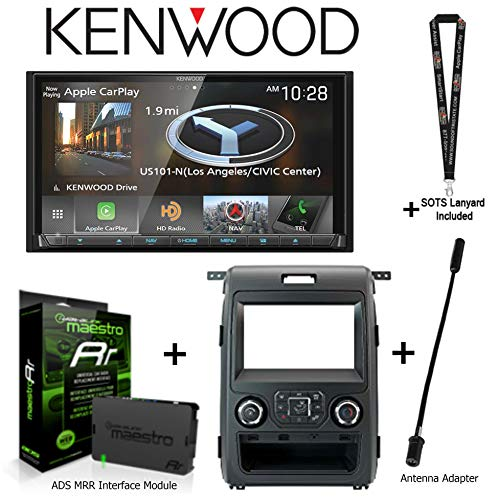 """Kenwood DNX875S 6.95"""" Navigation Receiver w Apple CarPlay and Android Auto, iDatalink KIT-F150 Dashkit for Select Ford F-150, ADS-MRR Interface Module, BAA21 Antenna Adapter and a SOTS Lanyard"""