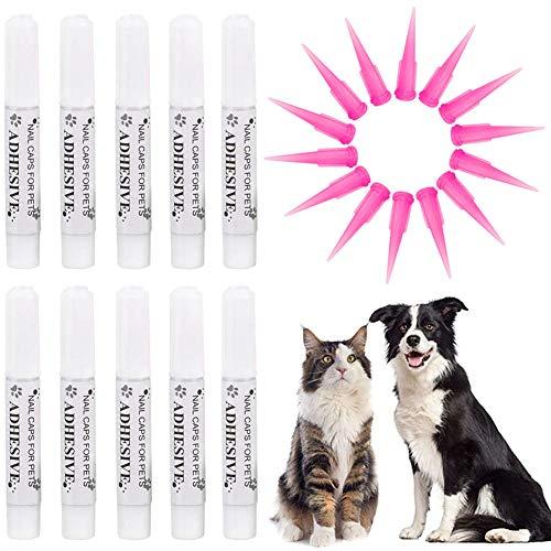 VICTHY 10pcs Special Pet Nail Adhesive Glues & 15pcs Applicator Tips for Dog or Cat Nail Caps