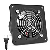 Beleeb 6 Inch Exhaust Smoke Fan Ventilation 110V 18W Power Cord US Plug 188CFM Strong anti-blackflow Hanging Wall Mounted 7.5 inch Square Grille Air Duct Booster for Attic Home Bathroom Garage Kitchen
