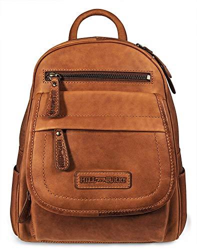 Hill Burry Leder Rucksack | aus weichem hochwertigem Rindsleder - Vintage Cityrucksack | Outdoorrucksack - Collegerucksack Bag Beutel - Lederrucksack (Braun)