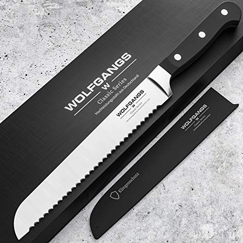 WOLFGANGS Premium Brotmesser - Extrascharfe Qualitäts-Klinge aus rostfreiem deutschem Edelstahl - Brotmesser Wellenschliff - Bread Knife in edlem Design - Profi-Küchenmesser Top-Qualität (schwarz)
