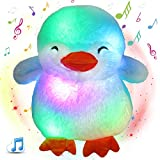Glow Guards 12'' Musical Light up Stuffed Penguin Soft Plush Toy with LED Night Lights Nursery Songs Glow Birthday for Toddler Kids