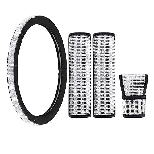 IYOYI Cristal Funda Volante Coche Cristal Conjunto,2 Almohadillas para Cinturones de Seguridad...