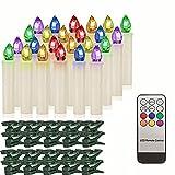 AN914 DIRIGIÓ Velas eléctricas sin Llama Colorido con Temporizador Remoto de batería de la Vela de Navidad for Halloween Decorativo Velas votivas (Color : RGB 20 Ivory)