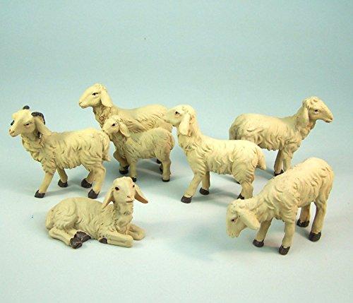 Unbekannt Schafe 6-tlg. aus Polyresin für Krippenfiguren 13-15 cm. Krippentiere