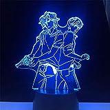 Anime Lamp Night Light Illusion Light ASH Lynx and Eiji Okumura Banana Fish Lamp 3D for Kid Bedroom LED Decor Lighting Child Christmas Gift Bedside Colorful Lampara Nightlight(16 Color with Remote)