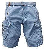 Geographical Norway Pratique Perle - Pantalones cortos cargo para hombre, con cinturón, bordados azul claro XL