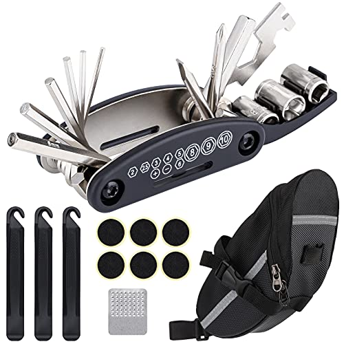 Wukong-Bolsa de sillín de Bicicleta con Herramientas de reparación 16 en 1...