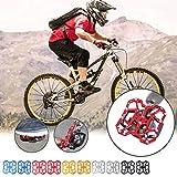 Xbots-JP 自転車ペダル 9/16インチ シールドベアリング 滑り止め フラットペダル アルミ合金 両面踏み 薄型 軽量 ロードバイク クロスバイク MTB ペダル 全5色 (Red)